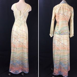 Vintage Dresses - Vintage 70s Two Piece Cream & Neon Scribbles Dress